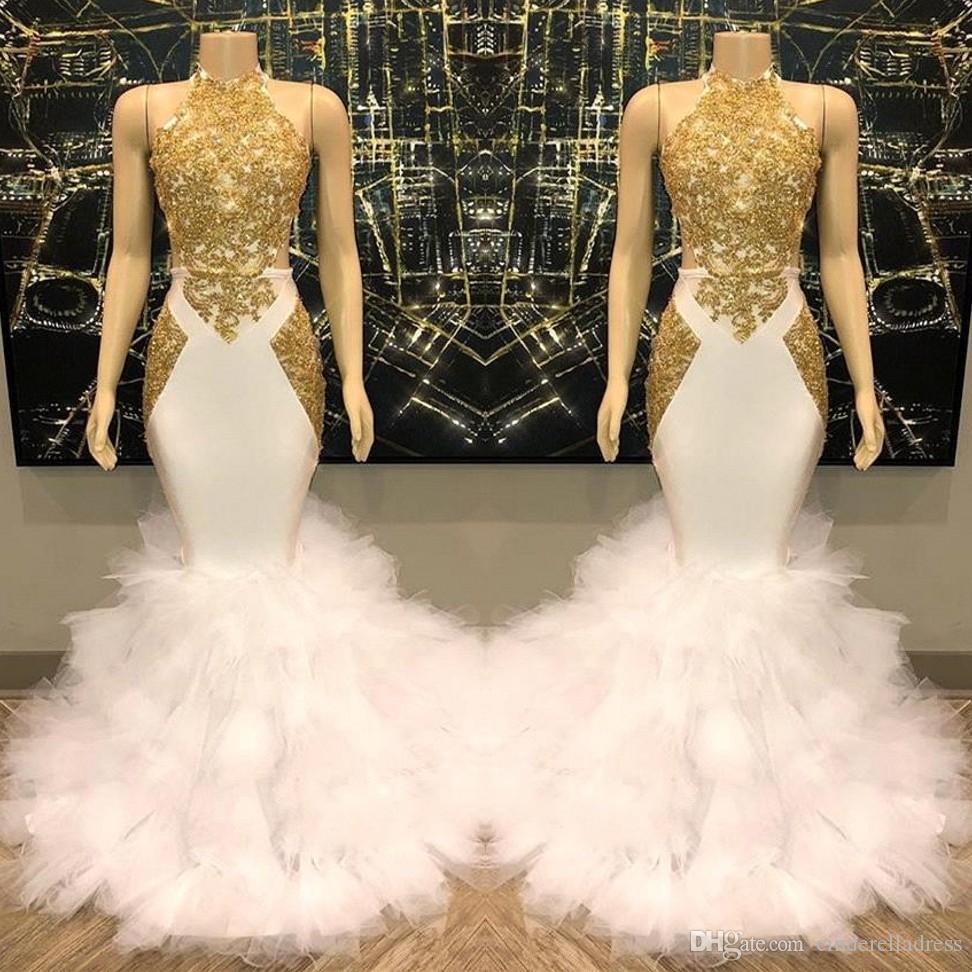 Großhandel 19 Weiß Und Gold Abschlussball Kleider Neue Cascading Tiered  Rüschen Lace Up Prinzessin Des Bonbon 19 Abschlussball Ballkleider