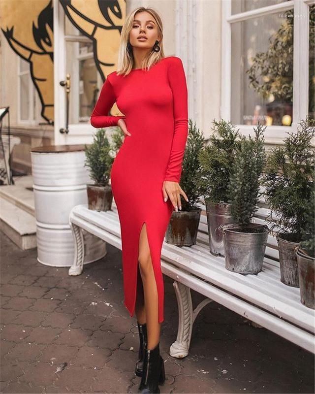 Vestidos ocasionales delgado de la manera ahueca hacia fuera la mujer de Split Diseñador lápiz Varios vestidos hembras las mujeres atractivas de la ropa
