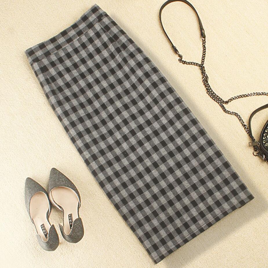 las mujeres otoño invierno a cuadros falda de lana falda lápiz cadera del paquete de split step alta cintura más el tamaño 2XL