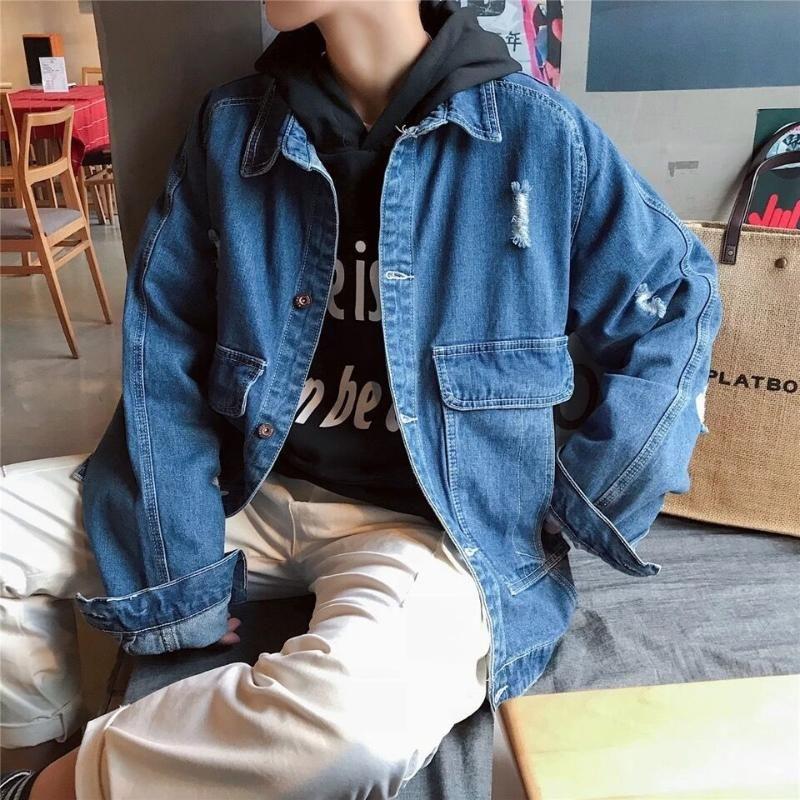 Denim jacket 2020 Fashion male spring long-sleeve Korean students wild handsome loose trend bf wind jacket cowboy teenagers Coat