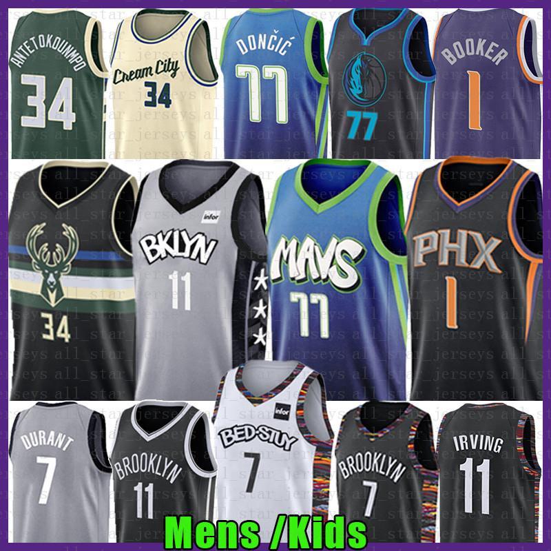 Luka Giannis 34 77 NCAA Antetokounmpo Kyrie Doncic basquetebol Jersey 11 7 Kevin Irving Durant Devin 1 Booker Kristaps 6 Porzingis Equipamentos
