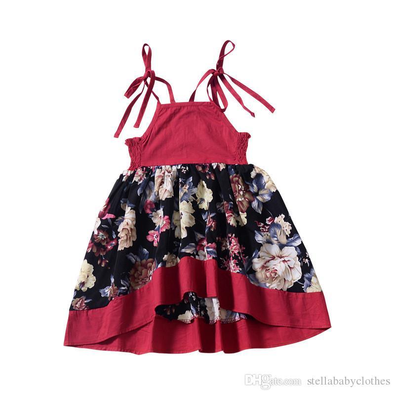 Compre 2019 Modelos De Explosión Vestido Estampado Para Niñas Europeas Y Americanas Bebé Corto Antes De Largo Marea Irregular Abanico A 1356 Del