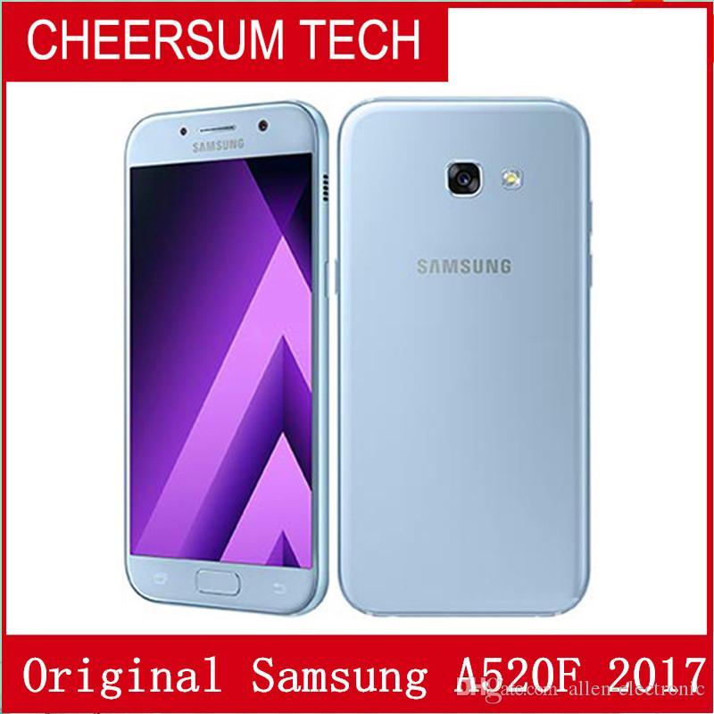 Remis à neuf d'origine Samsung Galaxy A520F 5.2 pouces Octa Core 3 Go de RAM 32 Go de ROM 16MP 3000mAh 4G LTE Android Smart Phone gratuit DHL 1pcs