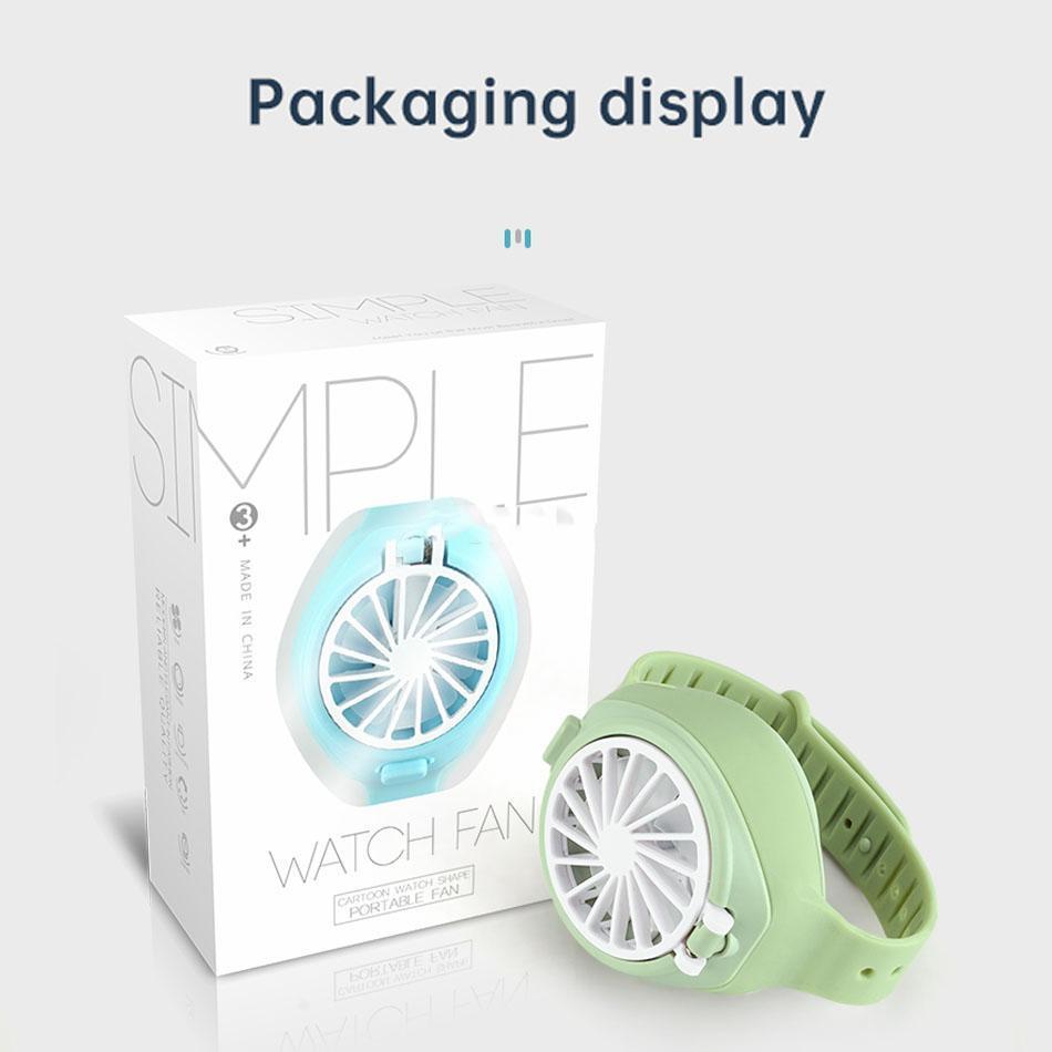 2020 Portable Mini Fan Cartoon Montre-Forme pliable mode de poche USB rechargeable avec ventilateur confortable Dragonne avec Retail Box