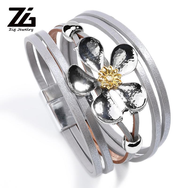 Новые многослойные изысканные кожаный браслет ювелирных изделий дизайнер дамы цветок аксессуары браслет элегантный подарок браслет шарма для девочки