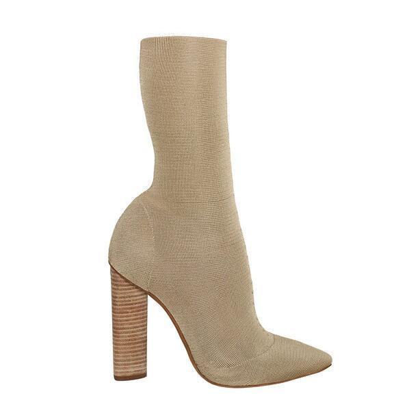 Heißer Verkauf Beige Knit Frauen Stiefel Kim Kardashian Stil Spitz Block Heels Kurze Stiefel 11 CM High Heels Frauen Stiefeletten