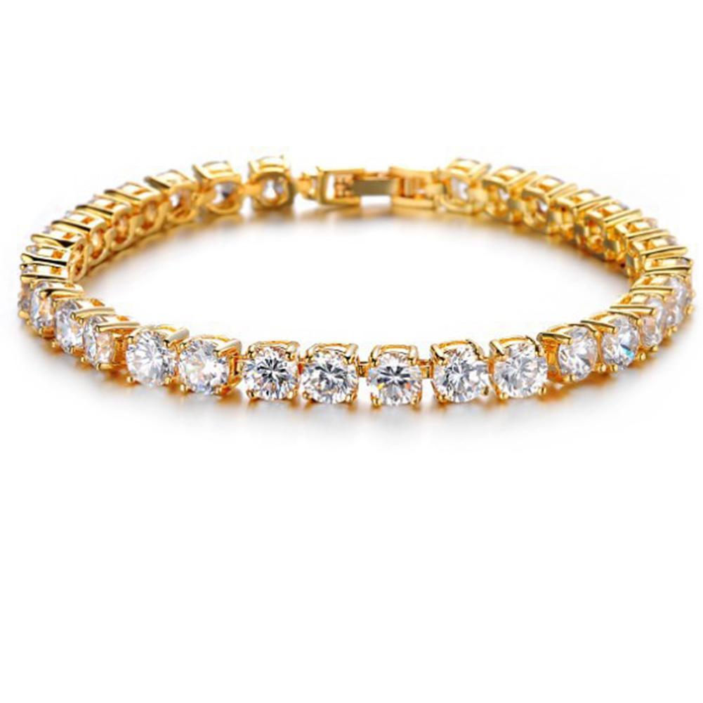 5MM 24K الذهب / الشظية مطلي زركونيا تنس سلسلة جنسين تنس سوار الهيب هوب سوار الرجال النساء مجوهرات هدية طول 17.5CM
