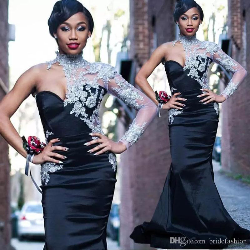 Design Schwarz One Shoulder Africa Prom Kleider Hoher Kragen mit Spitzenapplikationen Perlen Kleid für besondere Anlässe Satin Sweep Zug Abendkleid