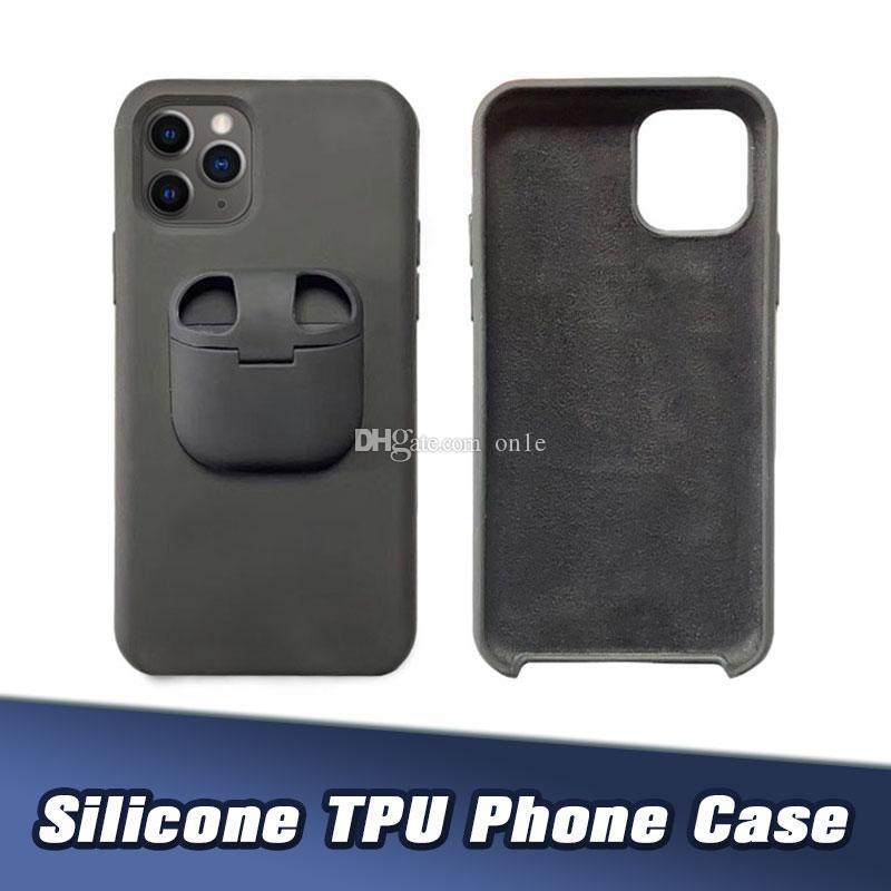Silicone Téléphone Case Cover 2 en 1 de protection anti-choc Téléphone Shell Cas Pour AirPod TWS Ecouteur Pour IP11 11Pro XsMax 8P