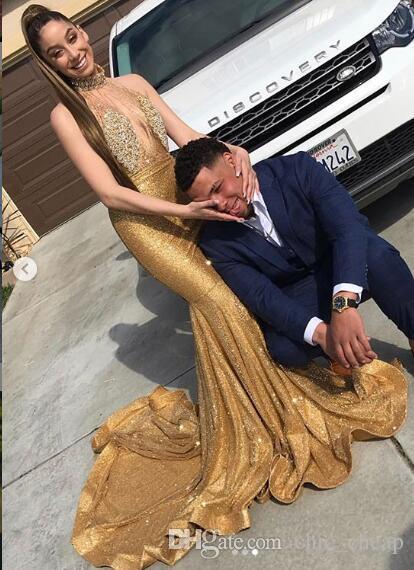 Gold Sparkly Sexy 2019 vestidos de noche africanos de cuello alto con cuentas cristales vestidos de baile sirena con lentejuelas fiesta formal de dama de honor vestidos de desfile