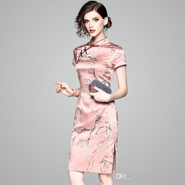 2019 Summer Woman Lady High Quality Silk Dress Middle Long Skirt