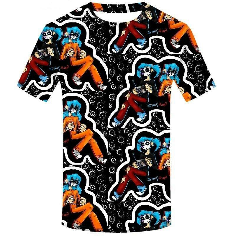 Sally Face 3D Print Casual T-shirt à manches courtes RF08