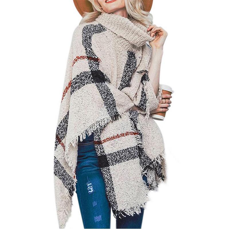 Poncho cappotto di stile di inverno di autunno Poncho Knitting dolcevita lunghi delle donne Poncho e mantelli Maglione Pullover Pull Top Femminili