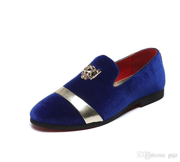 اليدوية الفاخرة أسود أزرق أحمر الرجال المخملية أحذية البريطانية مصمم اللباس أحذية للولائم وحفلة موسيقية الذكور متعطل Z126
