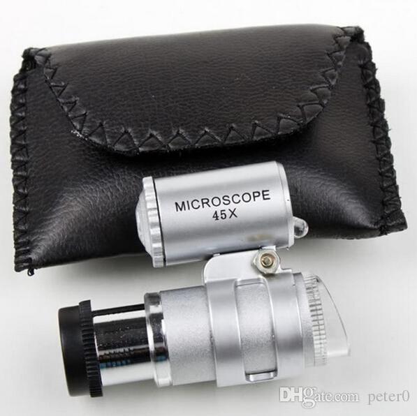 المجهر 45X الجواهري المكبر مجوهرات loupes مصغرة المكبرات الجيب المجاهر مع الصمام الخفيفة + الحقيبة الجلدية المكبرة الزجاج MG10081