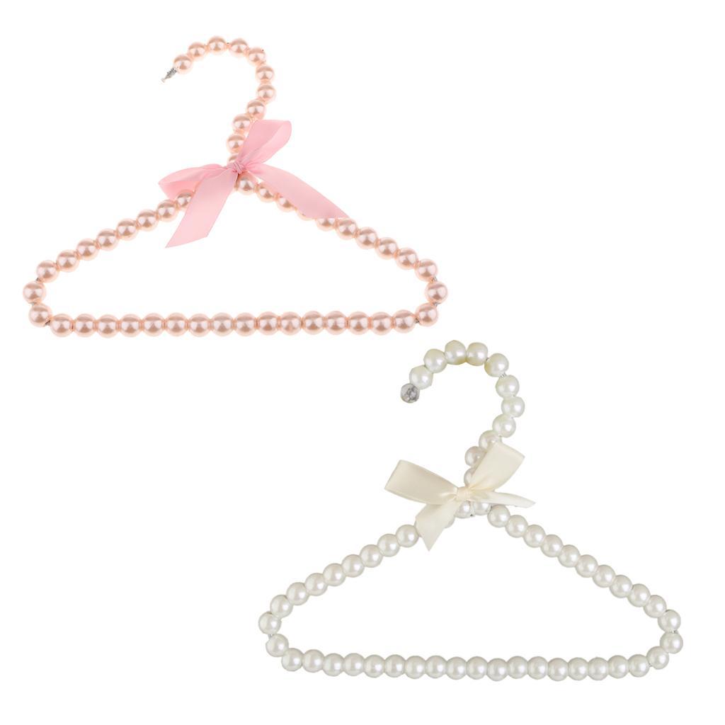 MagiDeal Set of 2 Plastic Pearl Children Kids Clothes Hanger Coat Trousers