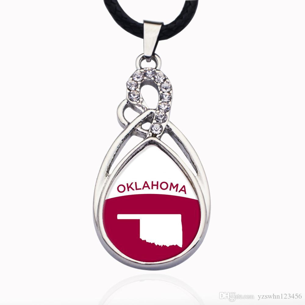 Colgante, collar del grano de cristal de Oklahoma Esquema collar del encanto del círculo de la manera joyería de los granos populares Cadena
