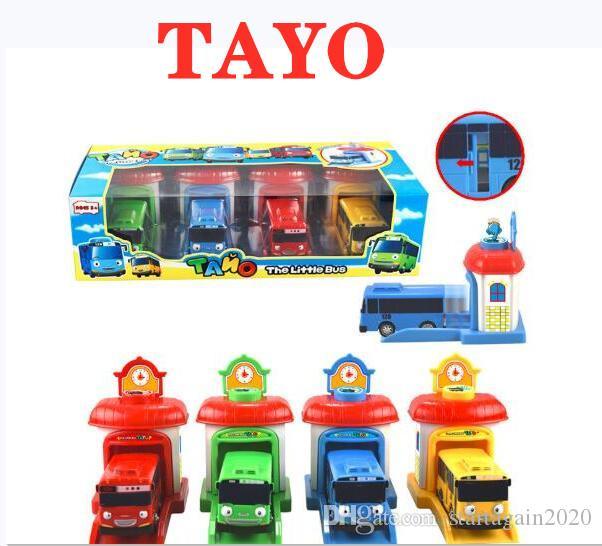 TAYO the Little Bus Korean Cartoon Openable Door Oyuncak Car miniature bus plastic Model Pull Back Toy Buses Kids Birthday Gift 4PCS/SET
