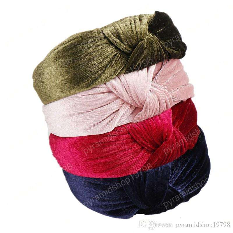 Bohemia Hairbands Top Knot Turban Velvet Elastic Hair Head Hoop Bands Accessories Headband for Women Girls headdress