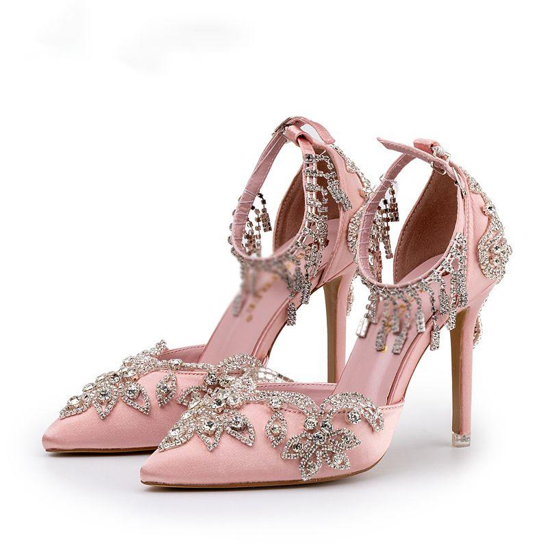 Bride Shoes Design Glittering Crystal Tassel Baby Pink Sandals Wedding Party Women Dress Fashion Shoes 9cm High Heels
