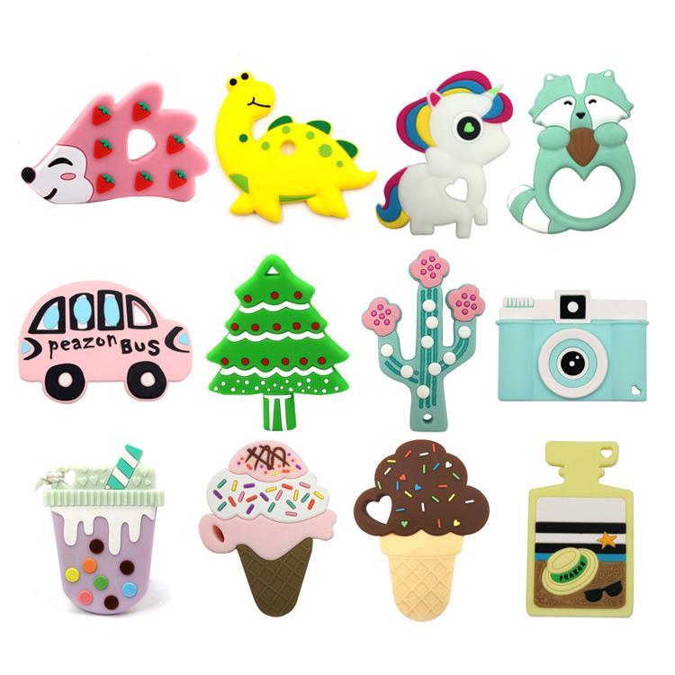 Baby-Silikon Beißring BPA frei Dentitionspielzeug Dinosaurier Igeler Kaktus Elefant Einhorn Eis Tröster Beißring Spielzeug Heißer Verkauf