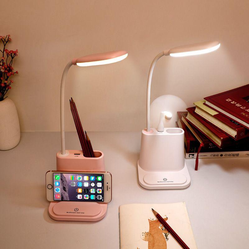 Lâmpada USB recarregável Table Lamp LED toque escurecimento Ajuste Desk for Children caçoa a leitura Estudo de cabeceira quarto sala de estar