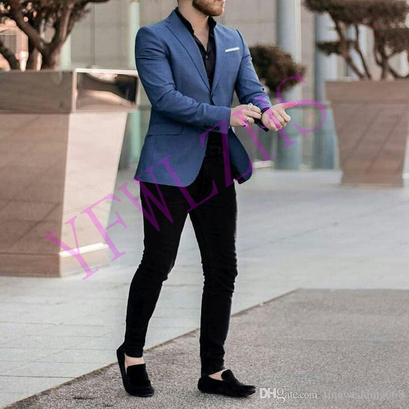 Guapo Dos botones de los padrinos de muesca solapa esmoquin novio trajes de hombre / (Jacket + Pants + Tie) B105 boda de Baile / Cena mejor hombre Blazer