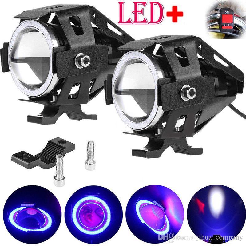 Motorcycle Headlight Motorbike U7 12V LED Driving Fog Spot Head Light moto spotlights Shoot the Lamp Angel Eyes For Honda
