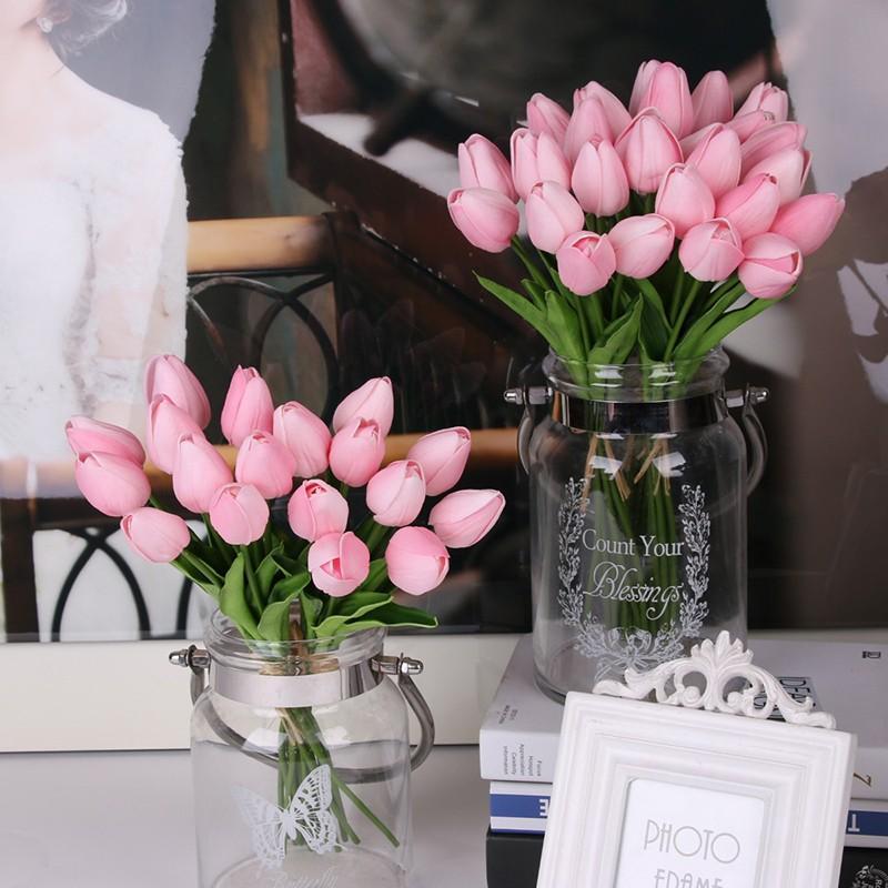 ПУ красоты Real touch цветы из латекса Тюльпаны цветочные Искусственный букет Поддельный цветочный букет невесты украсит цветы для свадьбы