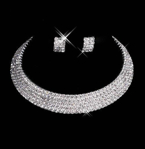 15035 Jewelry Necklace Earring Set Cheap Wedding Bridal 2020 Prom Cocktail Evening Dresses Rhinestone In Stock