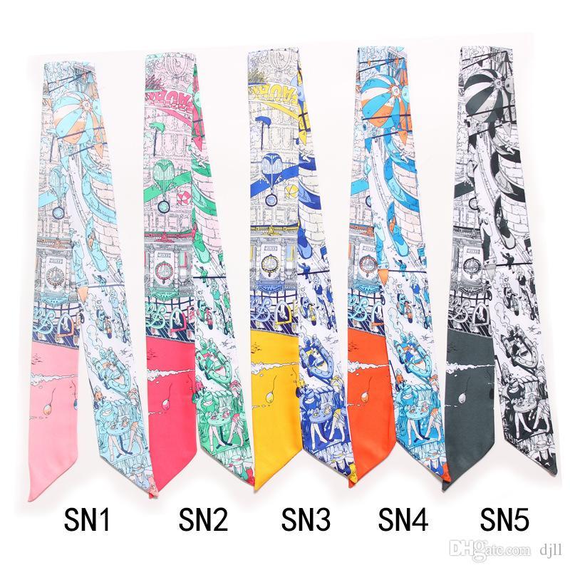 Bolso de mano de las mujeres bufandas de seda imitado verano turbante del pelo Cabeza Bufanda Pañuelo Francia París Impresión manejar la Bolsa de cinta bufandas largas Wraps