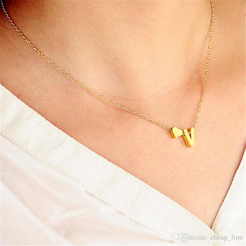 Brief Herz-Anhänger Halskette Intial Alphabet für Frauen Goldfarben-A-Z Alphabet Halskette Kette für Frauen Accessoires Mädchen Freund Geschenk