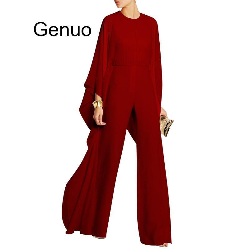 Women Jumpsuits Long Pants Romper Chiffon Ruffle Flare Long Sleeve Party Jumpsuits Black White Wide Leg Jumpsuit Evening Outfits