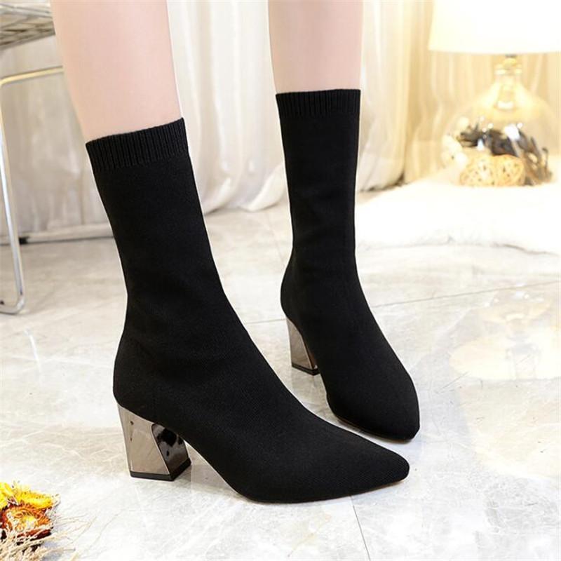 zapatos calientes botines de las mujeres Venta-Nuevo señalaron botas de estrías gruesas botas de las mujeres de punto calcetines de moda zapatillas de deporte del invierno de las mujeres