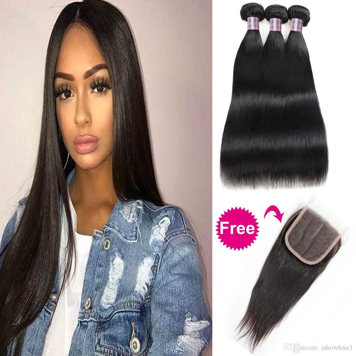 Пучки бразильских человеческих волос с закрытием Купить 3 пучка получить бесплатное закрытие
