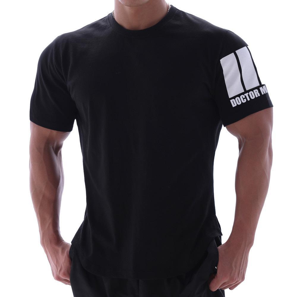 Muscle Frère Hommes Casual Sport manches courtes T-shirt Tendance été Fitness Hommes Courir Formation séchage rapide sur