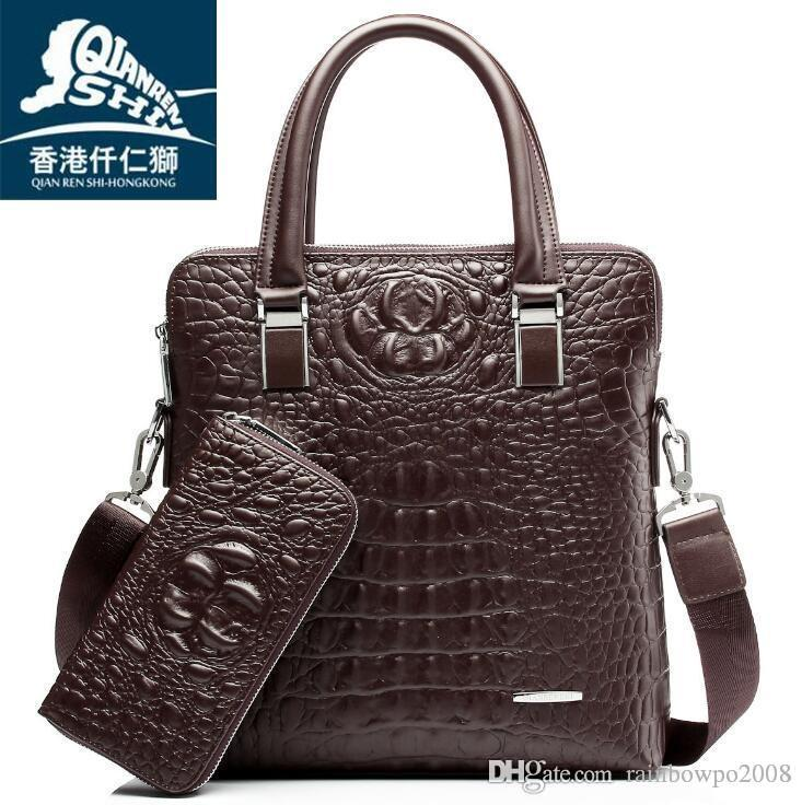 Usine en gros marque sac crocodile de haute qualité en cuir gaufré sac à main hommes d'affaires de mode stéréo en cuir épaule sac