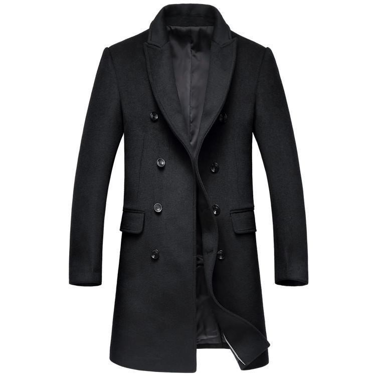 двубортные пальто шерсти 2019 зимы толстый теплый роскошный бизнес случайный мужской тонкий пальто куртки черный серый
