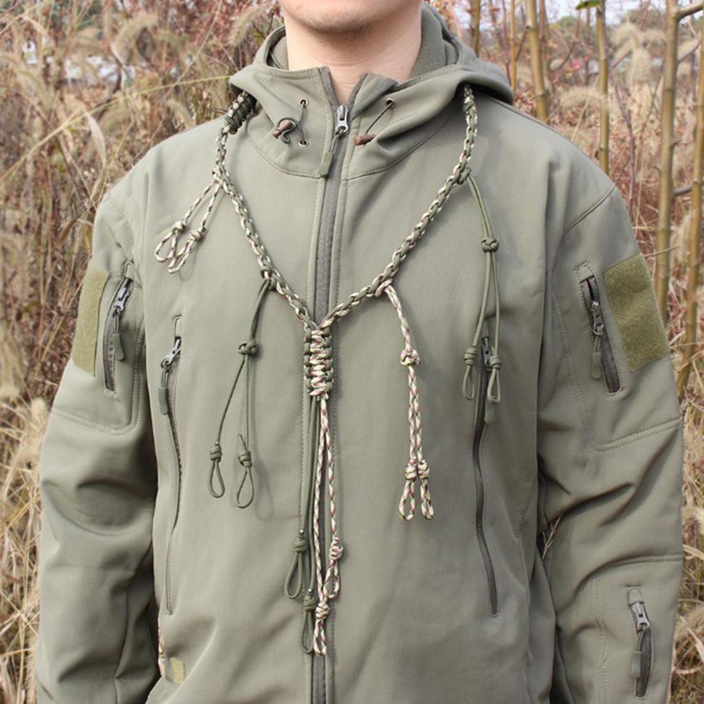 Lot de 2 Canard Appel Longe Paracord Hunting Goose Appels 12 boucles réglables en plein air - Kaki Noir