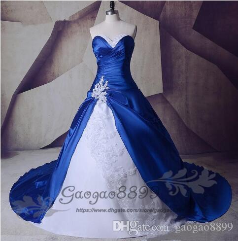 반짝이 진짜 이미지 새로운 흰색과 로얄 블루 라인 웨딩 드레스 2019 레이스 Taffeta Appliques 신부 가운 구슬 맞춤형 크리스탈 유행
