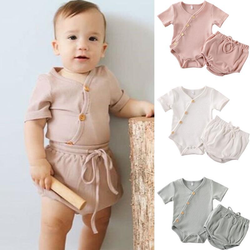 2020 Детская одежда Летняя новорожденный младенцев Мальчики Девочки Одежда Хлопок Romper Топы + Шорты Брюки Нижнее 2PCS Set