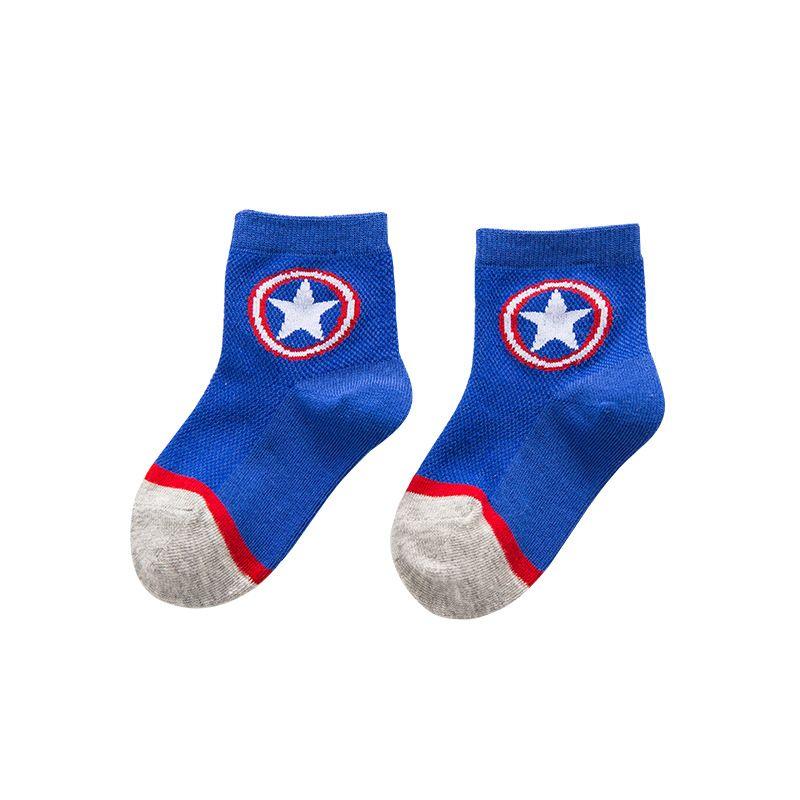 5 Pairs Kids Boys Girls Cotton Socks Summer Thin Breathable Cartoon Superman Spiderman Batman Fashion Baby Socks for 2-10 Years