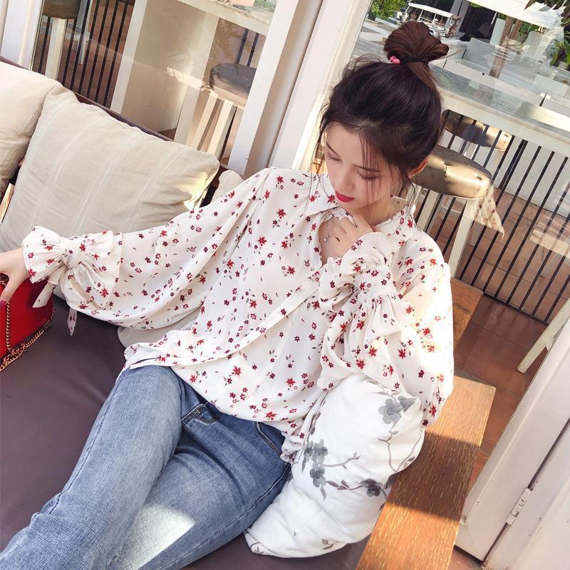 Mujeres Moda Casual Gasa Tops Floral Blusa de manga larga Señoras Blusas coreanas MX17D4547 Estilo de venta caliente