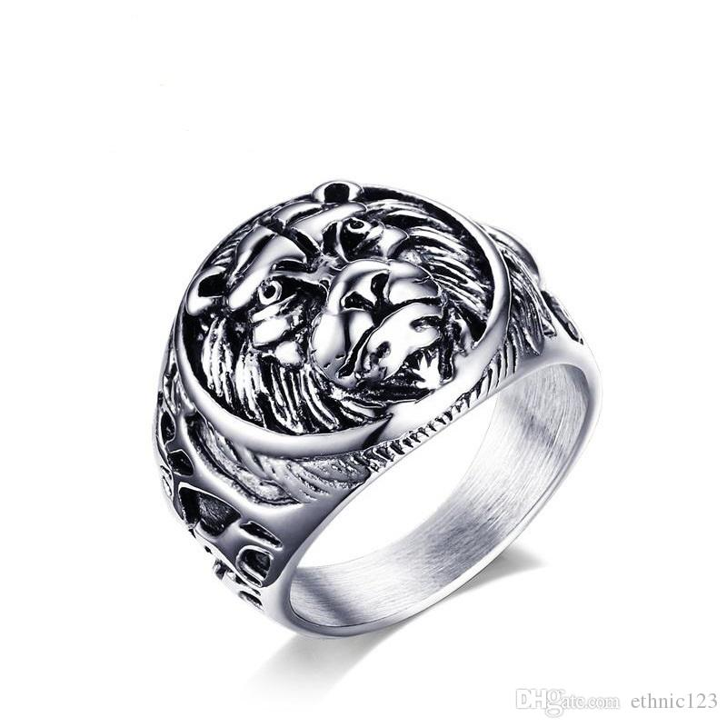 Color de acero Color de moda Los anillos de los hombres simples Acero inoxidable Anillo de león Regalo de la joyería para los hombres varones J367