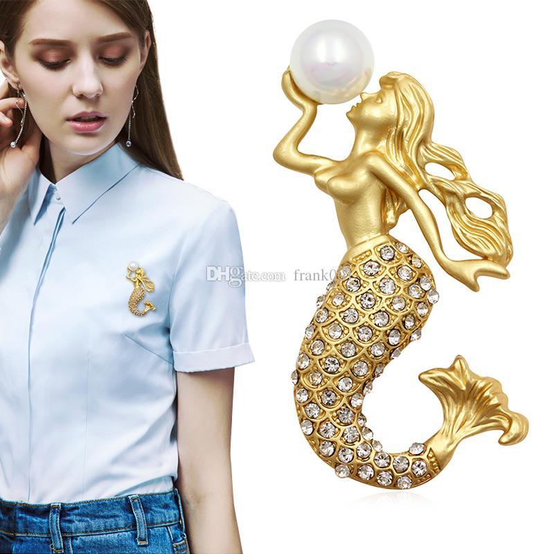 Factory Direct Sale Matte Gold/Silver Crystal Rhinestone Mermaid Brooches with Simulated Pearl for Lady Jewelry Gift