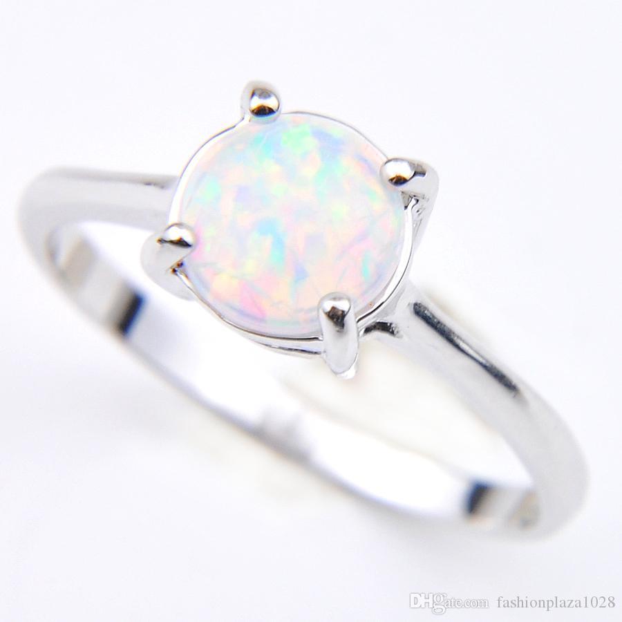 Hurtownie Wakacje Biżuteria Prezent Okrągły Biały Ogień Opal Klejnoty 925 Sterling Silver Fashion Woman Solitaire Ring US Rozmiar 7-8
