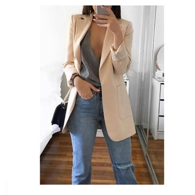 Autumn Women Casual Slim Blazers Suit Jacket Fashion Lady Office Suit Black with Pockets Business Notched Suits Blazer Coat