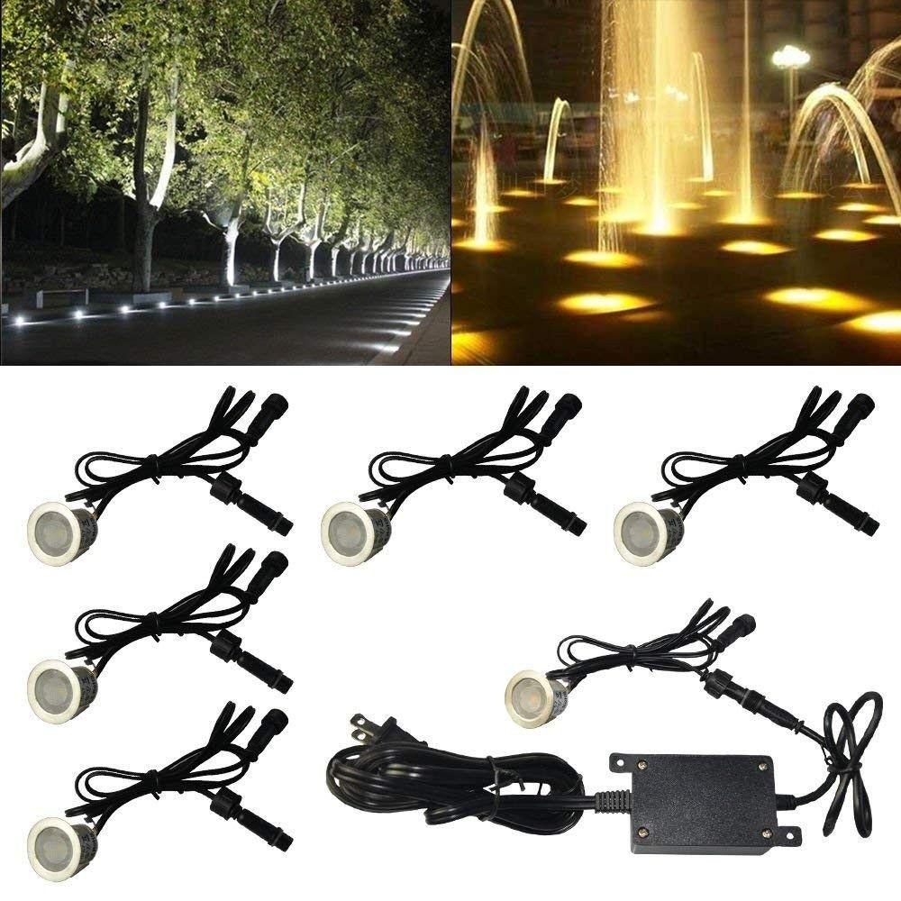 7 Вт 500LM светодиодные палубы огни комплект 12 В водонепроницаемый утопленные наземный свет для сада патио двор открытый пейзаж светильники