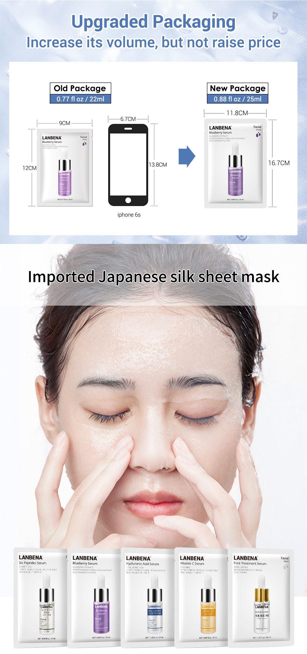 Dropshipping mujeres cara cuidado LANBENA vitamina C máscaras suero arándano hoja máscara hidratante blanqueamiento cara cuidado de la piel