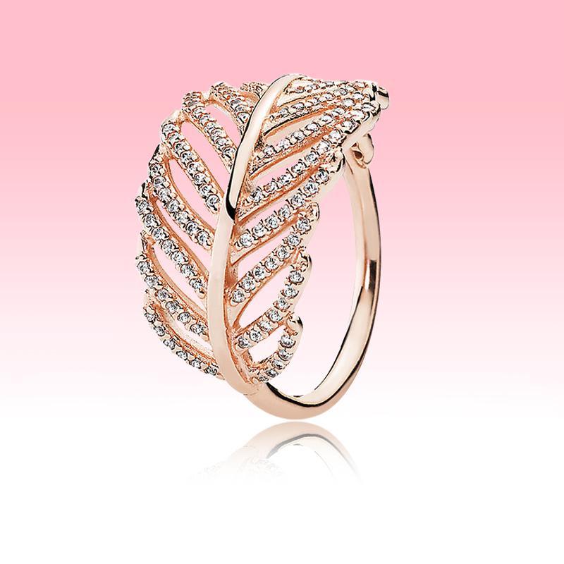 oro della Rosa di alta qualità placcati in dono di nozze le ragazze squilla le donne per Ring piuma Pandora reale 925 Silver Light con il contenitore originale